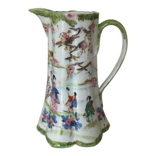 20th Century Chinoiserie Hand Painted Porcelain Pitcher For Sale