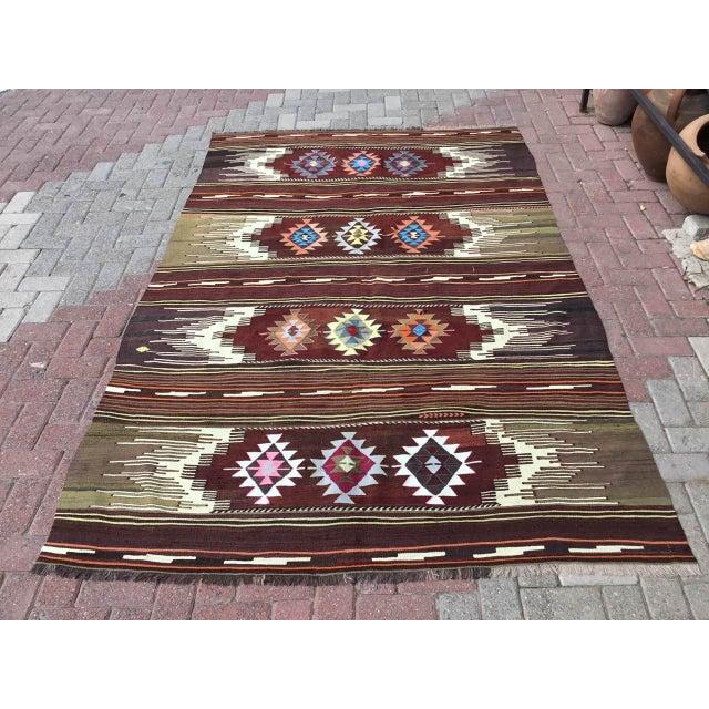 Vintagr Turkish Kilim Rug For Sale - Image 11 of 11