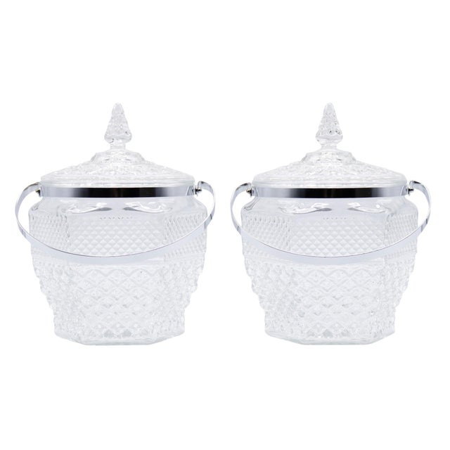 Transparent Wexford Crystal Ice Buckets by Anchor Hocking - a Pair For Sale - Image 8 of 8