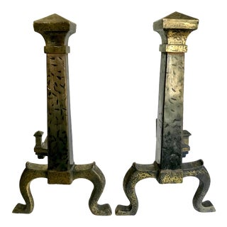 Pair of Vintage Hammered Iron Andirons For Sale