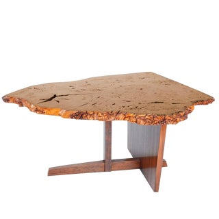 George Nakashima English Oak Burl and Laurel Minguren II Table, 1977 For Sale
