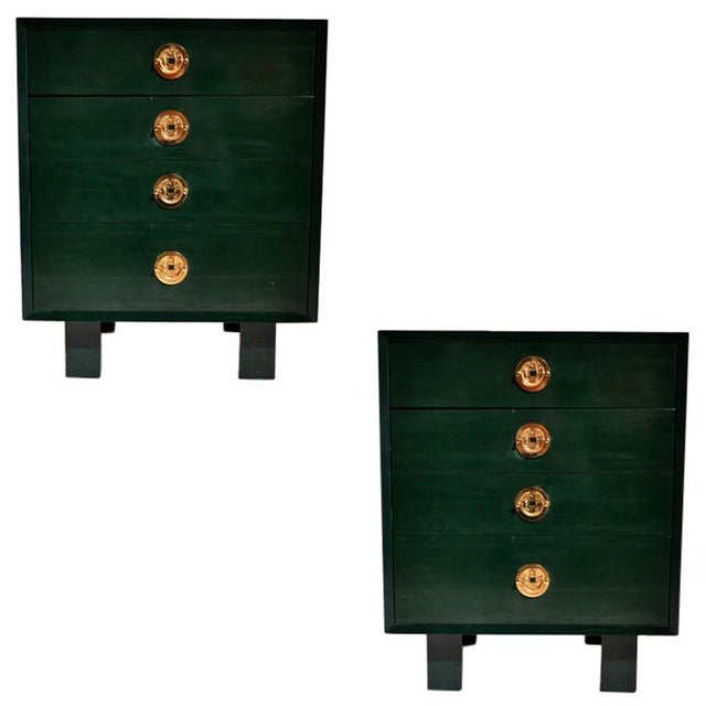Gold George Nelson for Herman Miller Green Lacquer Pier Chests or Dressers - a Pair For Sale - Image 8 of 8