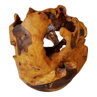 Natural Edge Burr Burl Wood Vessel Vase Bowl Sculpture For Sale