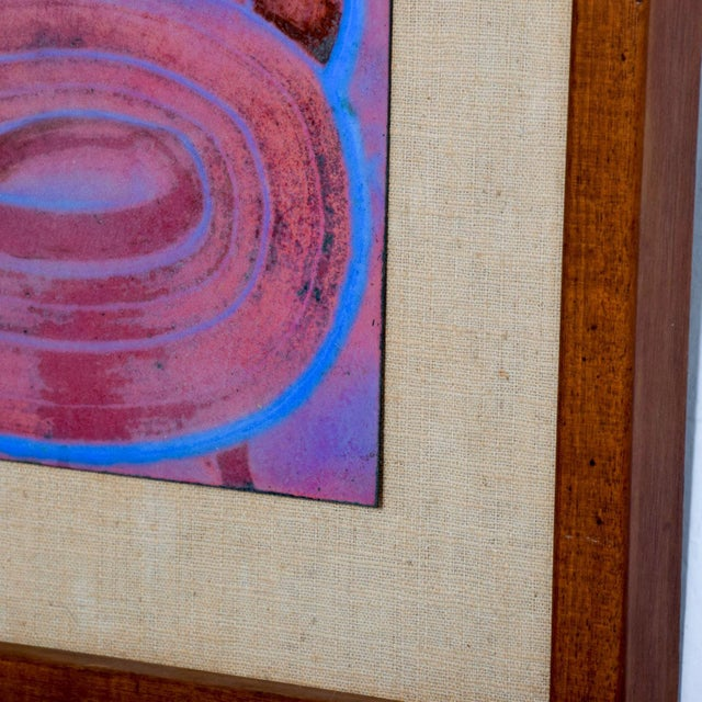 Mid Century Modern Abstract Enamel Art, Framed, Pedro Coronel Era For Sale In San Diego - Image 6 of 7