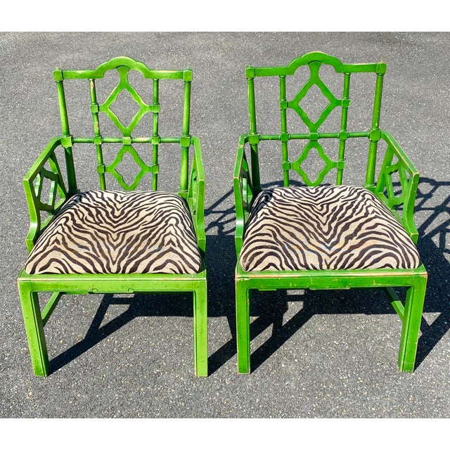 Vintage Hollywood Regency Green Pagoda Chairs with Zebra Fabric - a Pair For Sale - Image 12 of 13