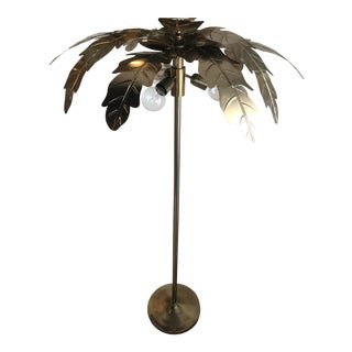 Vintage Hollywood Regency Gold Brass Metal Palm Tree Leaf Frond Leaves Floor Lamp For Sale