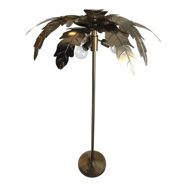 Vintage Hollywood Regency Gold Brass Metal Palm Tree Leaf Frond Leaves Floor Lamp For Sale