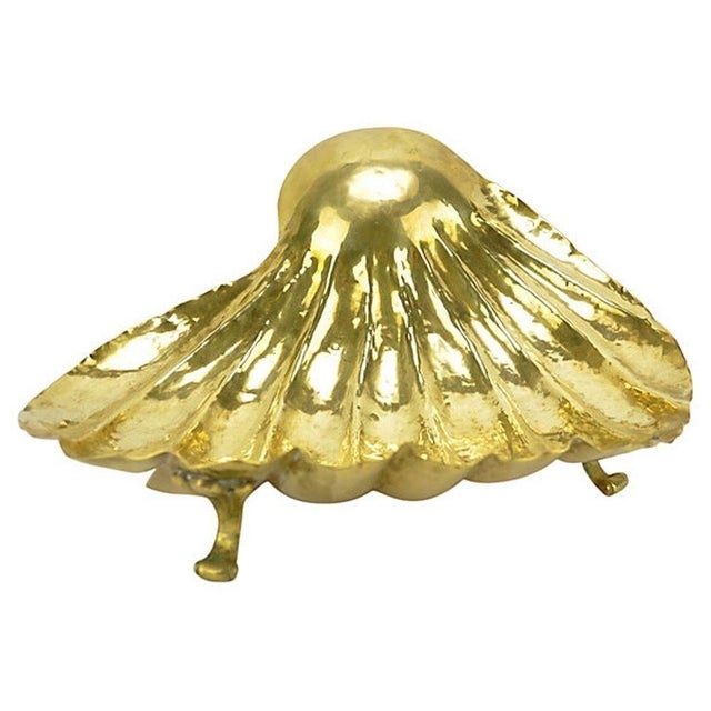 Vintage Large Footed Italian Brass Shell Bowl For Sale - Image 4 of 6