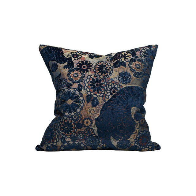 Traditional Siberian Tiger Pillow, Sapphire For Sale - Image 3 of 3