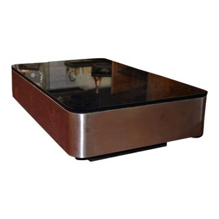 Mid Century Modern Brutalist Stainless Steel and Smokey Glass Coffee Table C.1950s For Sale