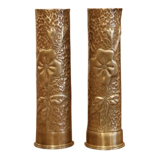 Early 20th Century French Brass Army Shell Casing Vases Dated 1916 - a Pair For Sale