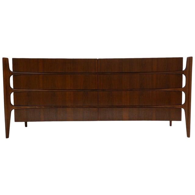 Stilted Curved Scandinavian Mid-Century Modern William Hinn Chest or Dresser For Sale