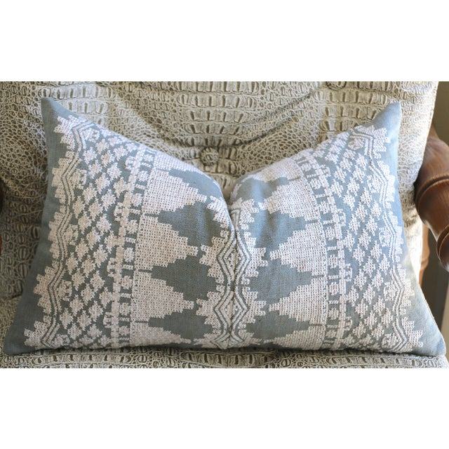 Offered is one Dusty Blue Schumacher Embroidered Pillow Cover from new Vogue magazine Schumacher collection. Oatmeal linen...