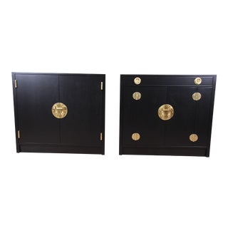 Edward Wormley for Dunbar Hollywood Regency Chinoiserie Ebonized Bar Cabinets, Pair For Sale