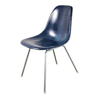 Vintage Navy Blue Eames Shell Chairs for Herman Miller on H-Base For Sale