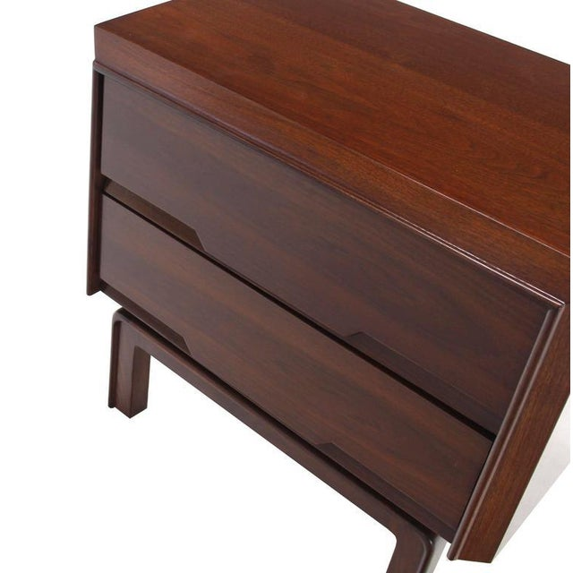 Pair of Danish Mid Century Modern Walnut End Tables Two Drawer Stands For Sale In New York - Image 6 of 8