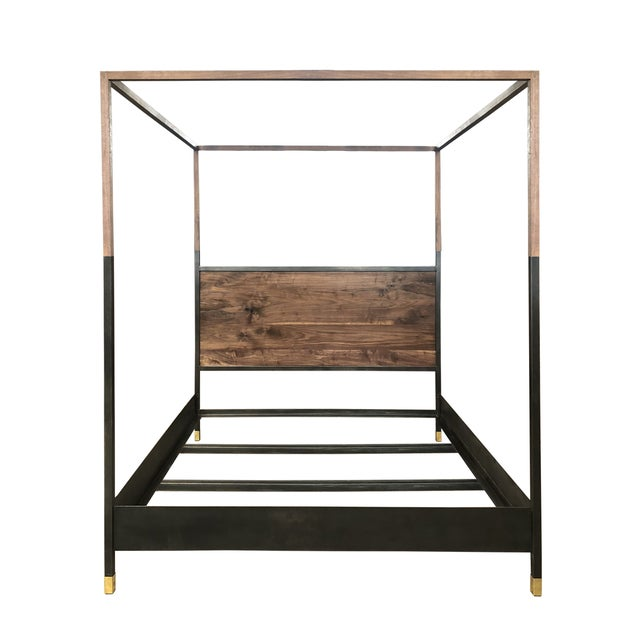 Black Hampson Wood and Metal Canopy King Size Bed For Sale - Image 8 of 9