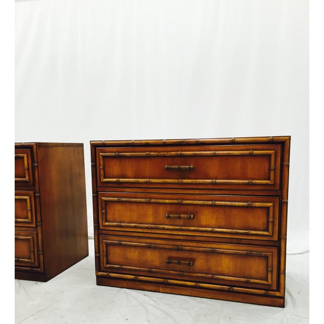 Vintage Mid-Century Bamboo Bedside Chests - A Pair - Image 4 of 10