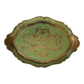 20th Century Italian Green Wood Tray With Gilt Trim For Sale