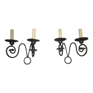 Vintage French Wrought Iron Wall Sconces - A Pair