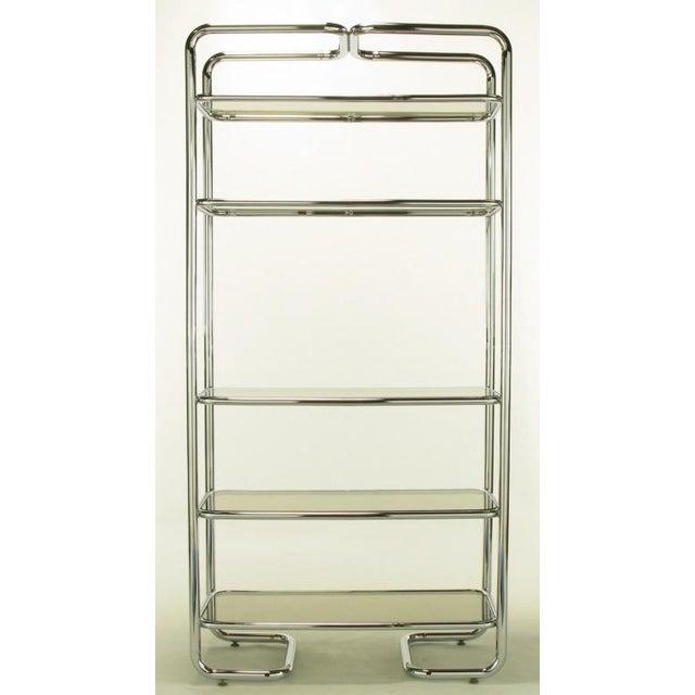 Tubular Chrome & Smoked Glass Five Shelf Etagere. - Image 5 of 10