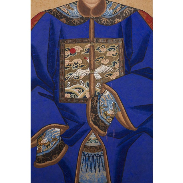 Pair of Chinese Patriarch Matriarch Ancestral Portraits For Sale - Image 9 of 13