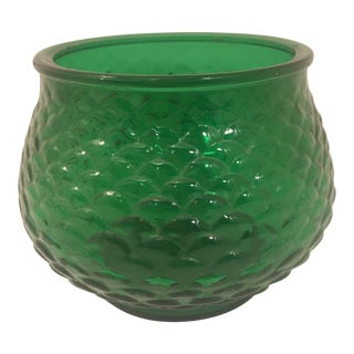 1960s Mid-Century Modern Emerald Green Fish Scale Vase For Sale