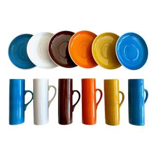 LaGardo Tackett Schmid Vintage Mid Century Modern Porcelain Demitasse Espresso Cups and Saucers - Set of 12 For Sale