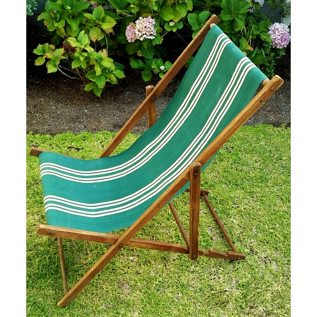 Vintage Wood & Canvas Folding Beach Deck Chair For Sale - Image 4 of 7