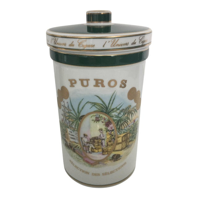 Cigar Humidor Porcelain Container by Bernardaud For Sale
