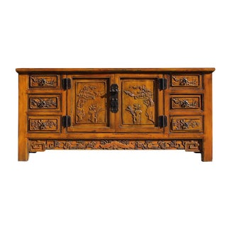 Distressed Mustard Yellow Carving Motif Sideboard For Sale