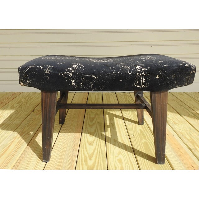 Textile Mid-Century Modern Custom Velvet Upholstery Bench For Sale - Image 7 of 7
