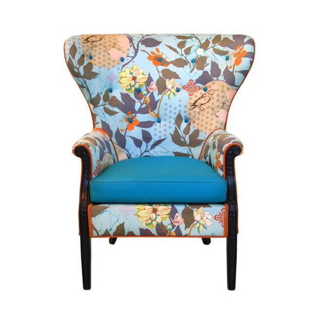 Admirable 1960S Vintage Baby Blue Floral Wingback Accent Chair Chairish Bralicious Painted Fabric Chair Ideas Braliciousco