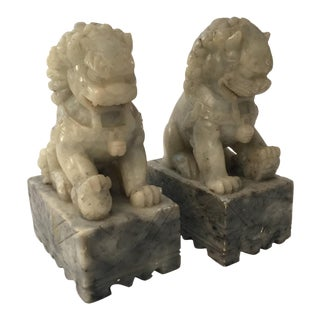 Pair of Carved Chinese Soapstone Foo Dog Bookends For Sale