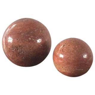 Pair of Polished Red Travertine Balls, Italy, 1970s For Sale