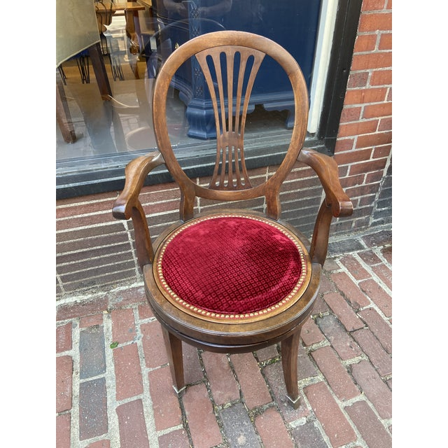 This French Directoire Swivel chair is a stunning piece of fine furniture. The chair itself is mahogany with an...