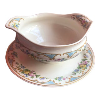 1950s Syracuse China Gravy Boat With Attached Underplate in Emsley Blue For Sale