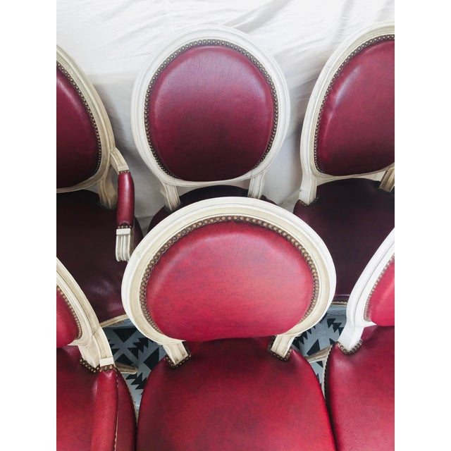 Louis XVI Red Leather Oval Back Dining Chairs - Set of 6 For Sale - Image 11 of 13