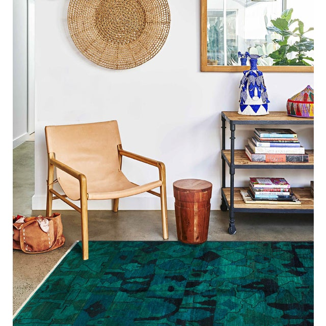 2000s Contemporary Green and Teal Rug - 7′ × 9′ For Sale - Image 5 of 6