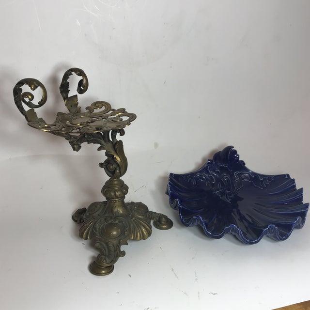 Bleu Cobalt Porcelain Plate on Bronze Base For Sale - Image 4 of 8