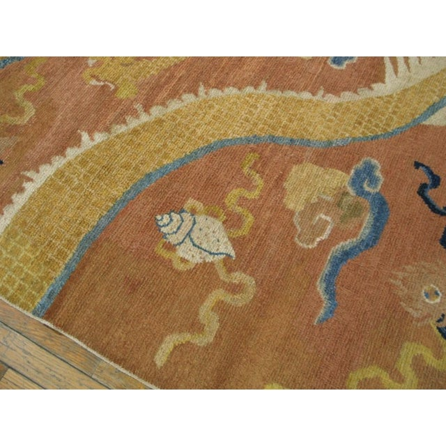 Mid 18th Century Antique Ningxia Pillar Rug For Sale - Image 4 of 9