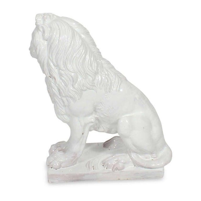 Facing Early to Mid-20th Century Regal, Majolica Lion Figures - A Pair For Sale In West Palm - Image 6 of 9