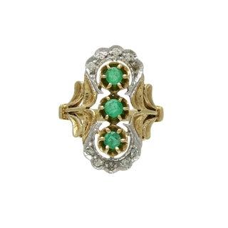 Vintage 14k Gold Diamond Emerald Filigree Ring For Sale