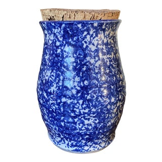 Vintage Blue White Spatterware Crock With Cork Topper For Sale