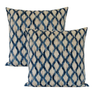 Teal and Cerulean Down Feather Designer Accent Pillows. Set of 2 For Sale