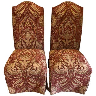 Drexel Burgundy and Gold Print Upholstery Side / Office Chairs - a Pair For Sale