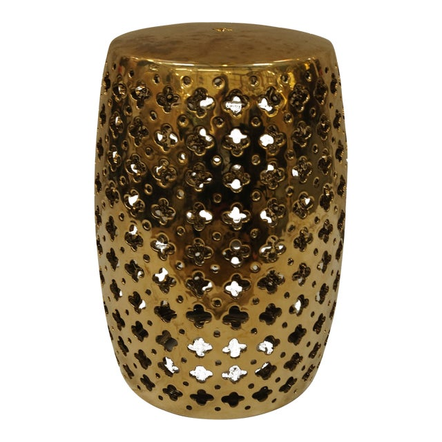 Brass Garden Stool With Quatrefoil Cutouts - Image 1 of 3