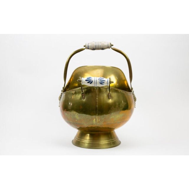 Vintage Dutch Brass Scuttle For Sale - Image 4 of 5