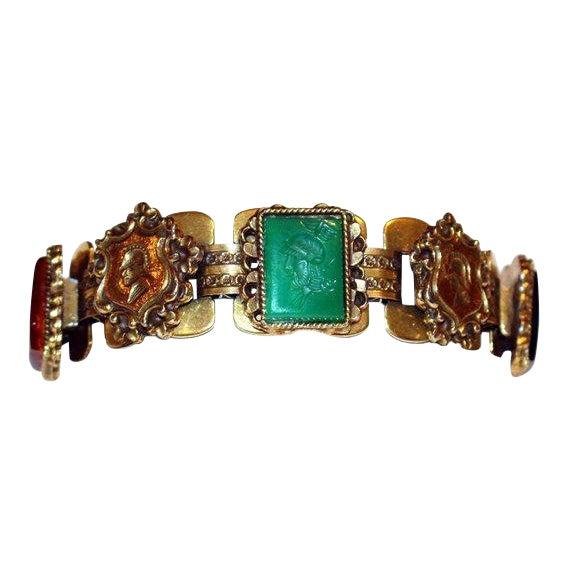 C1950s Goldtone Jeweled Intaglio Bracelet For Sale