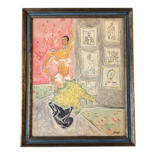 Original Vintage Ralph Nelson Watercolor Female Nude Interior 1950's Listed New York For Sale